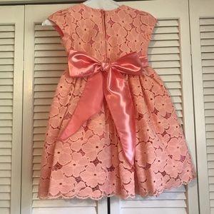 Good Girl Dresses - Little girl's Peach formal dress - tulle & lace!